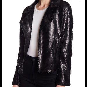 NWOT Sugarlips Conrad Sequin Moto Jacket Black Lrg